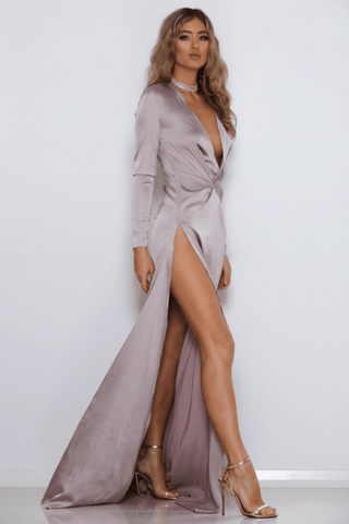 Flow Long Sleeve Satin Gown - Taupe - MESHKI