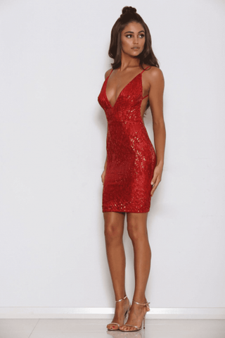 Bella Sequin Mini Dress - Red - MESHKI