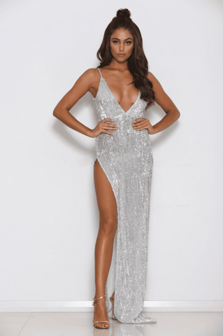 Beverly Sequin High Slit Gown - Silver