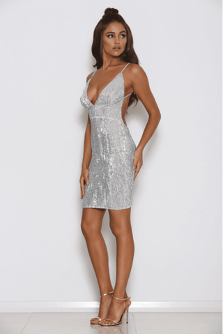 Bella Sequin Mini Dress - Silver - MESHKI
