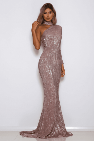 Bria Off-shoulder Choker Sequin Gown - Rose Gold