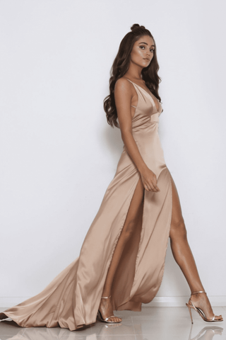 Maddison Backless Satin Gown - Bronze