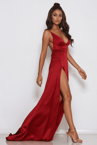 Maddison Backless Satin Gown - Red - MESHKI