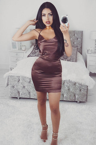 Cartiya Satin Mini Dress - Chocolate - MESHKI
