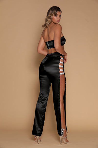 Sienna Diamante Panel Pants - Black - MESHKI