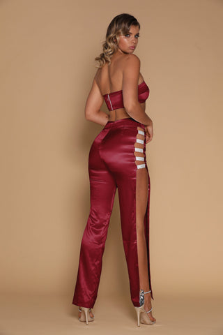 Sienna Diamante Panel Pants - Burgundy - MESHKI