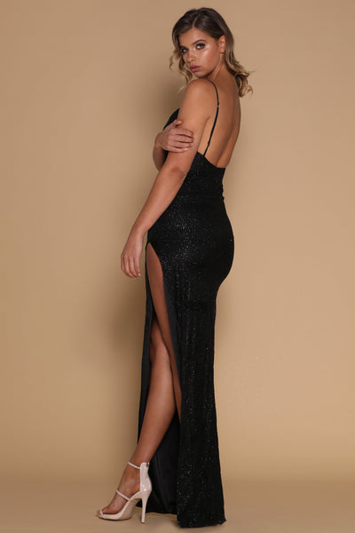 Stella Jewelled Maxi Dress - Black - MESHKI