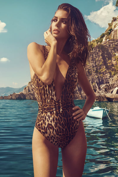 Hadley Belted Plunge One Piece - Leopard