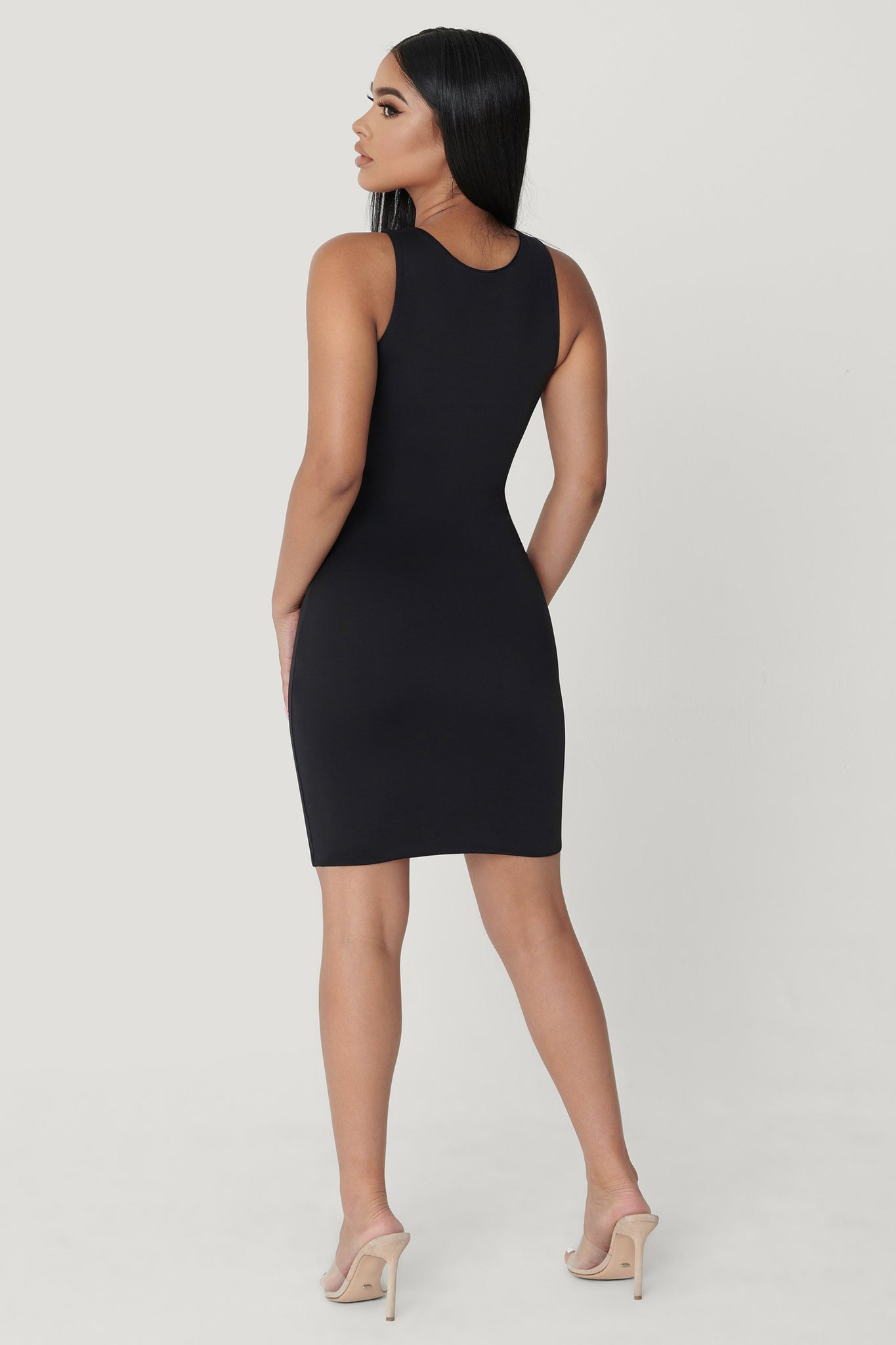 Tonia High Neck Sleeveless Dress - Black - MESHKI