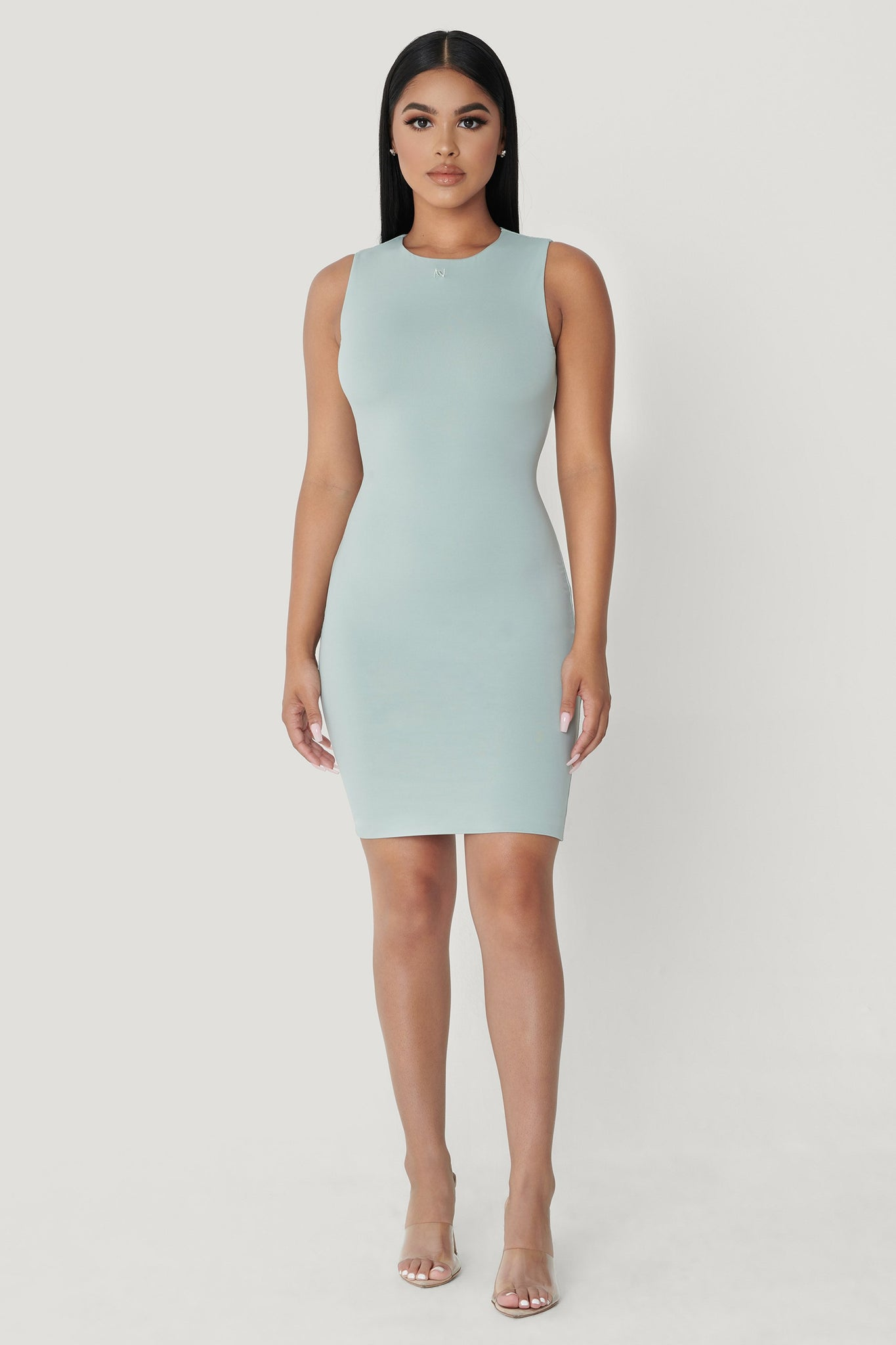 Tonia High Neck Sleeveless Dress - Storm - MESHKI
