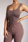 Jaelyn Thick Strap Scoop Neck Bodysuit - Chocolate