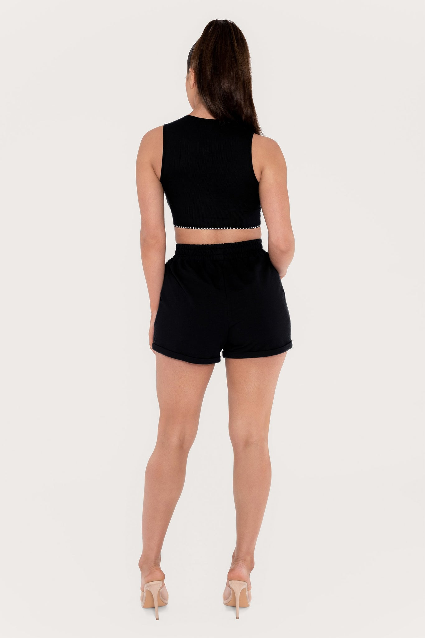 Keila Diamante Trim Ribbed Crop Top - Black - MESHKI