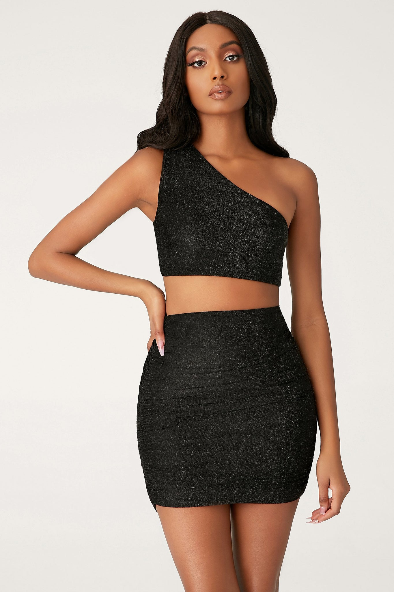 Lori One Shoulder Shimmer Crop Top - Black - MESHKI