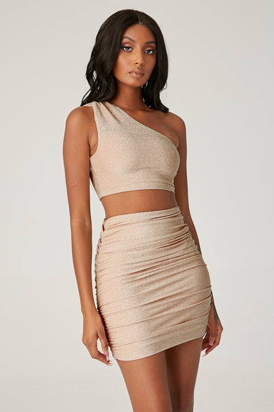 Marnie Shimmer Ruched Mini Skirt - Gold