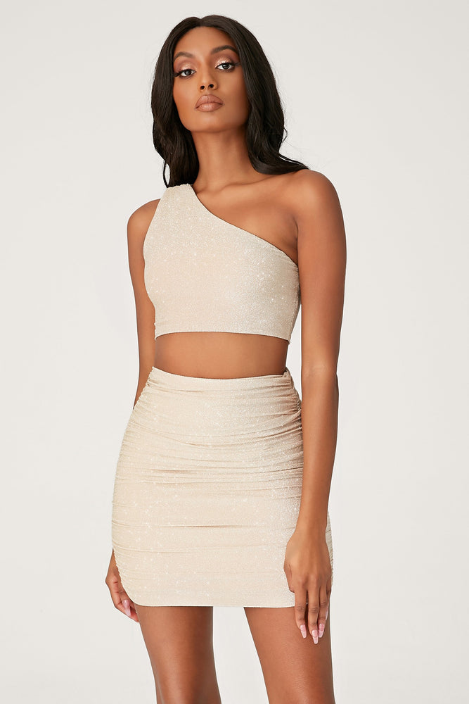 Lori One Shoulder Shimmer Crop Top - Gold - MESHKI