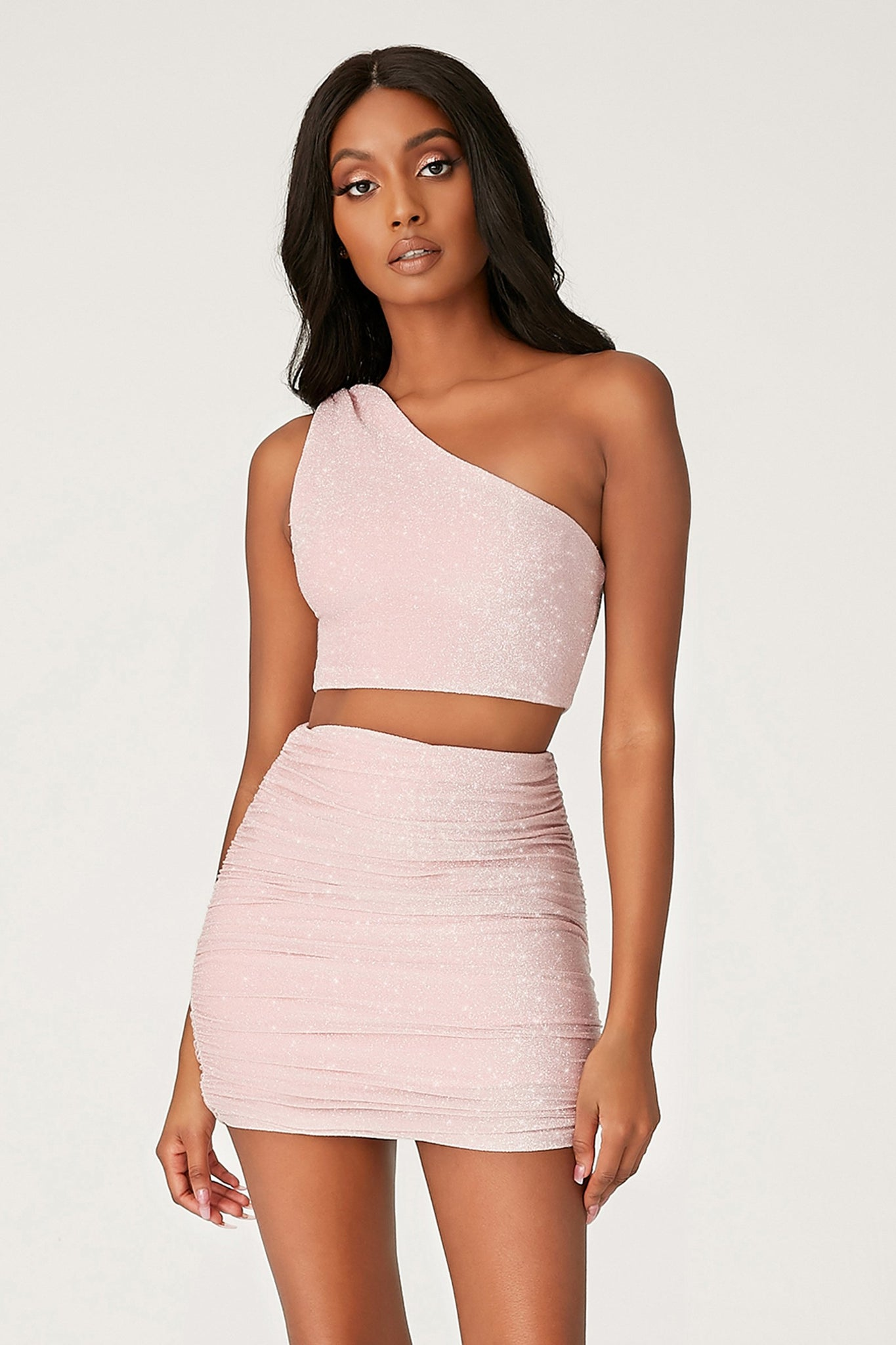 Lori One Shoulder Shimmer Crop Top - Pink - MESHKI