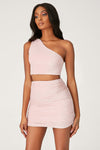 Marnie Shimmer Ruched Mini Skirt - Baby Pink