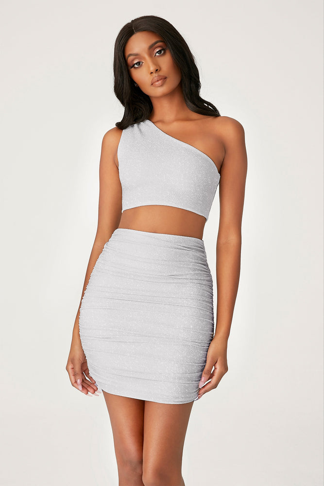 Lori One Shoulder Shimmer Crop Top - Silver - MESHKI