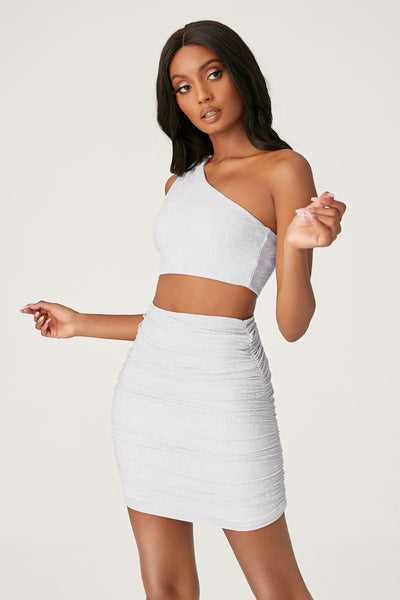 Marnie Ruched Mini Skirt - Silver