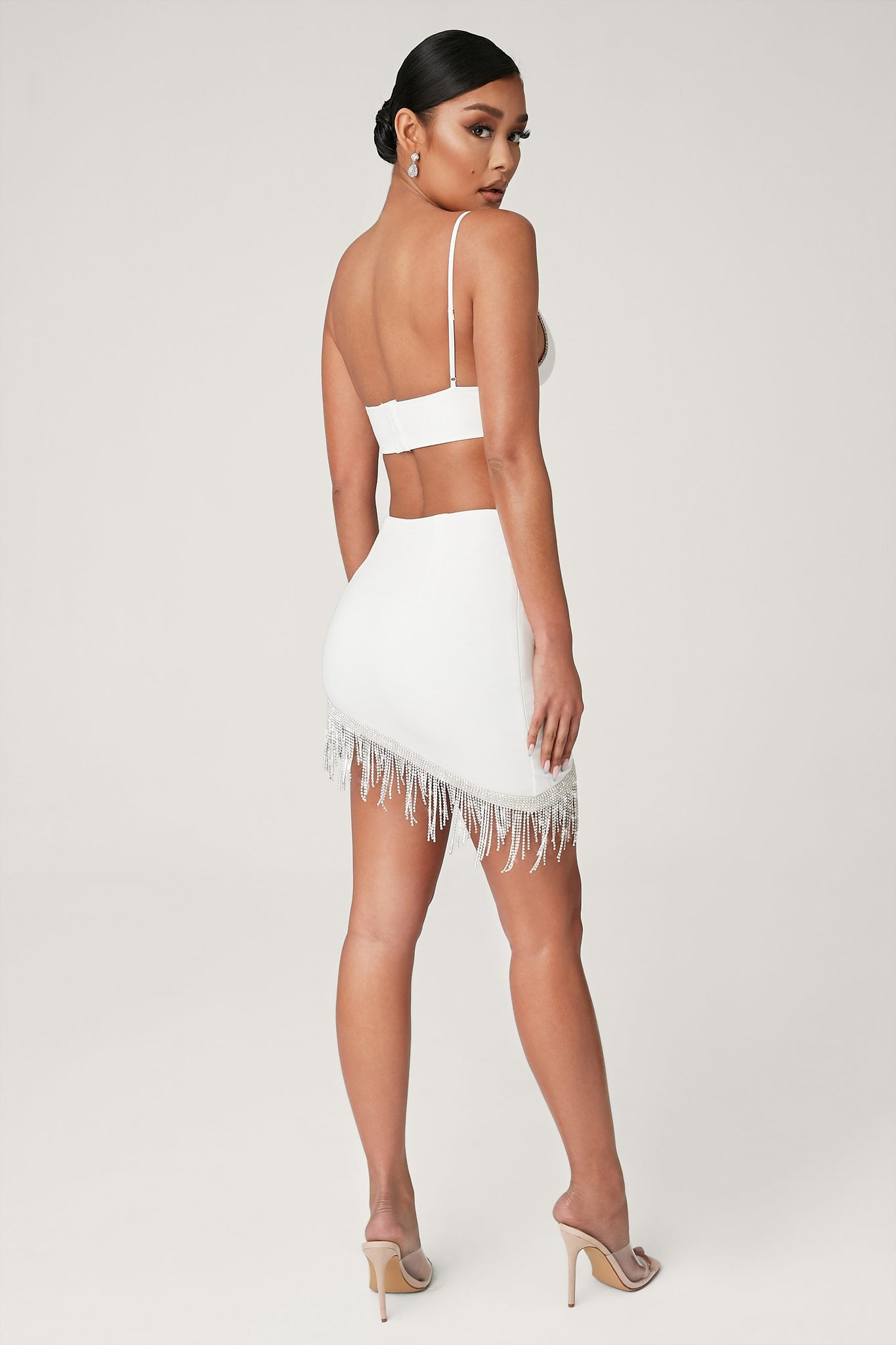 Priscilla Diamante Fringe Mini Skirt - White - MESHKI