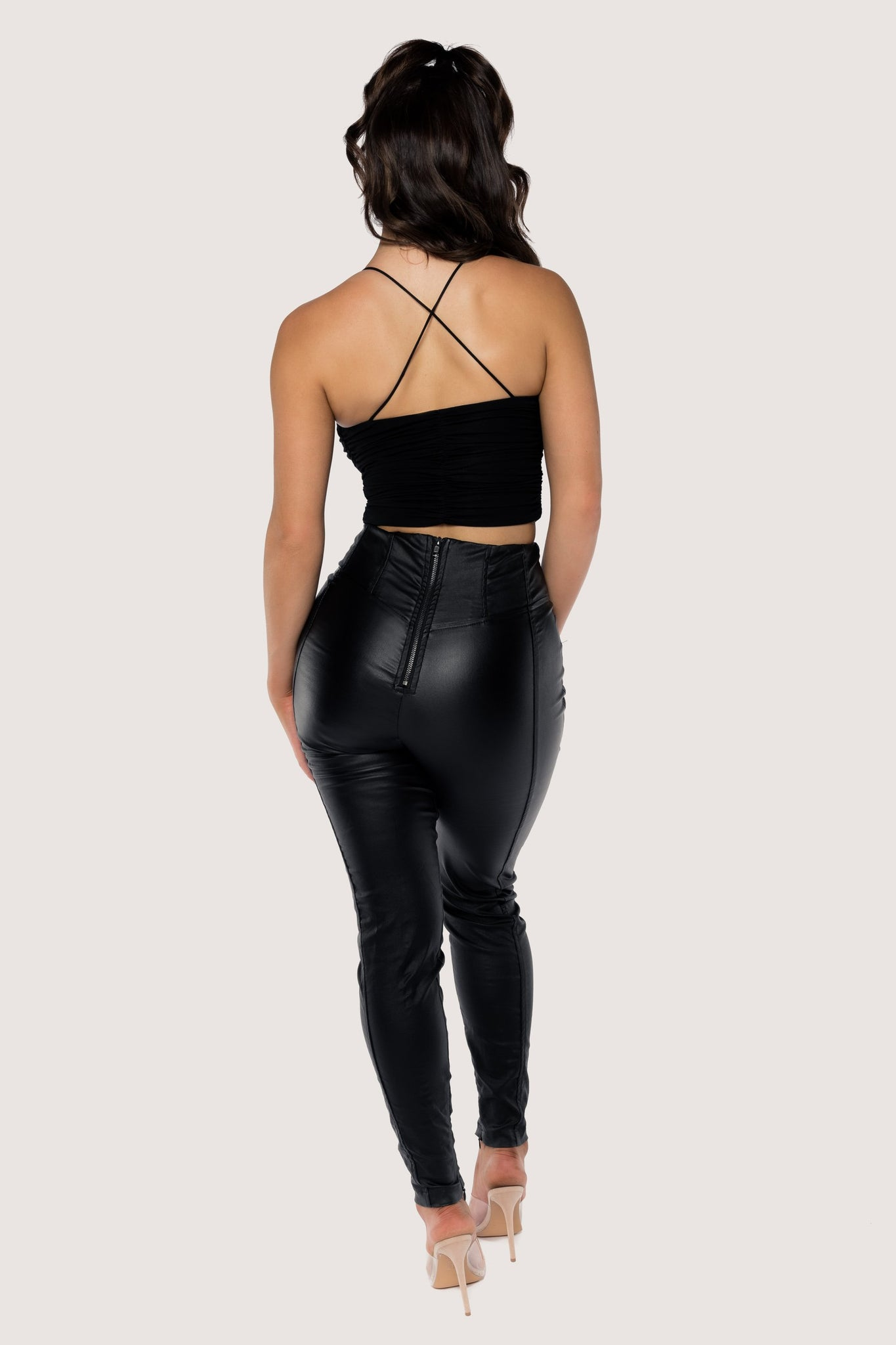 Kaela Ruched Front Tie Up Crop Top - Black - MESHKI