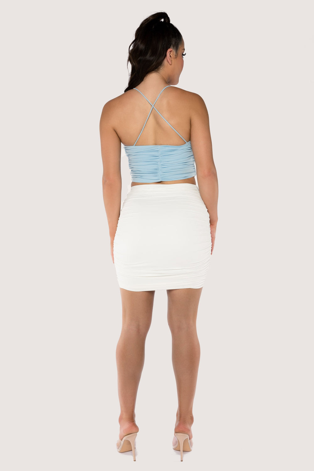 Kaela Ruched Front Tie Up Crop Top - Dusty Blue - MESHKI