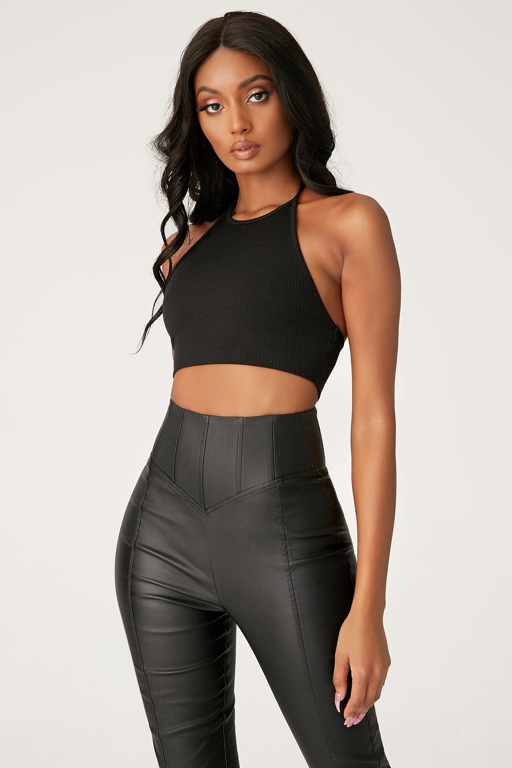 Zima Leatherette Corsetted High Waisted Pants - Black - MESHKI