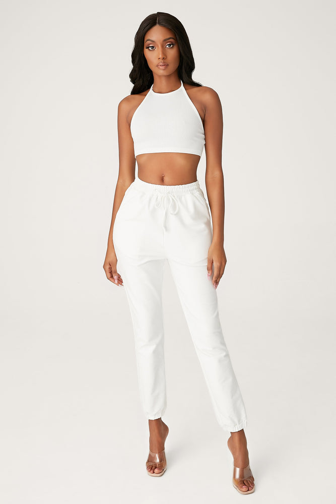 Freda Halter Crop Top - White - MESHKI