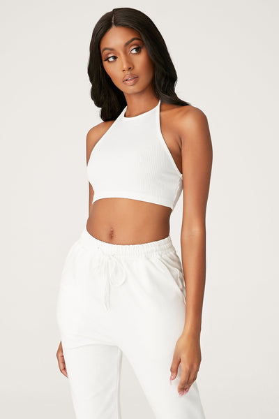 Freda Halter Crop Top - White