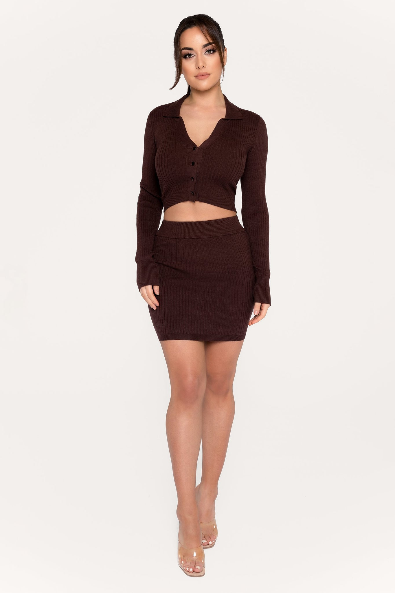 Cece Ribbed Mini Skirt - Chocolate - MESHKI