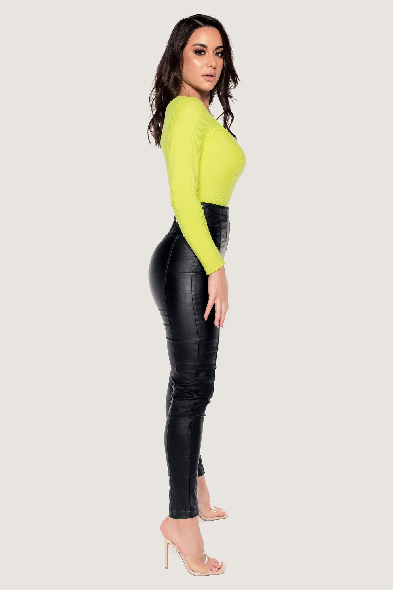 Desirae Long Sleeve Scoop Bodysuit - Lime Green - MESHKI