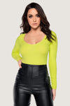 Desirae Long Sleeve Scoop Bodysuit - Lime Green