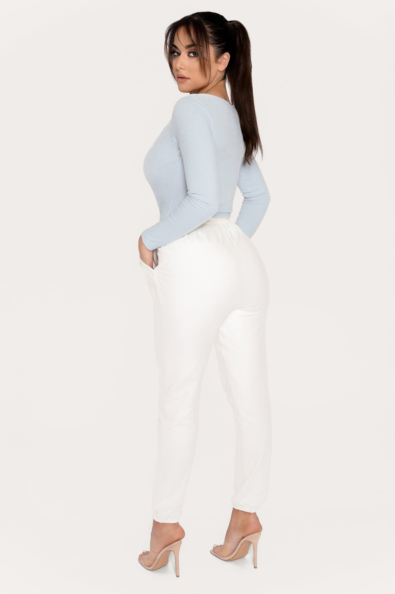 Desirae Long Sleeve Scoop Bodysuit - Baby Blue - MESHKI
