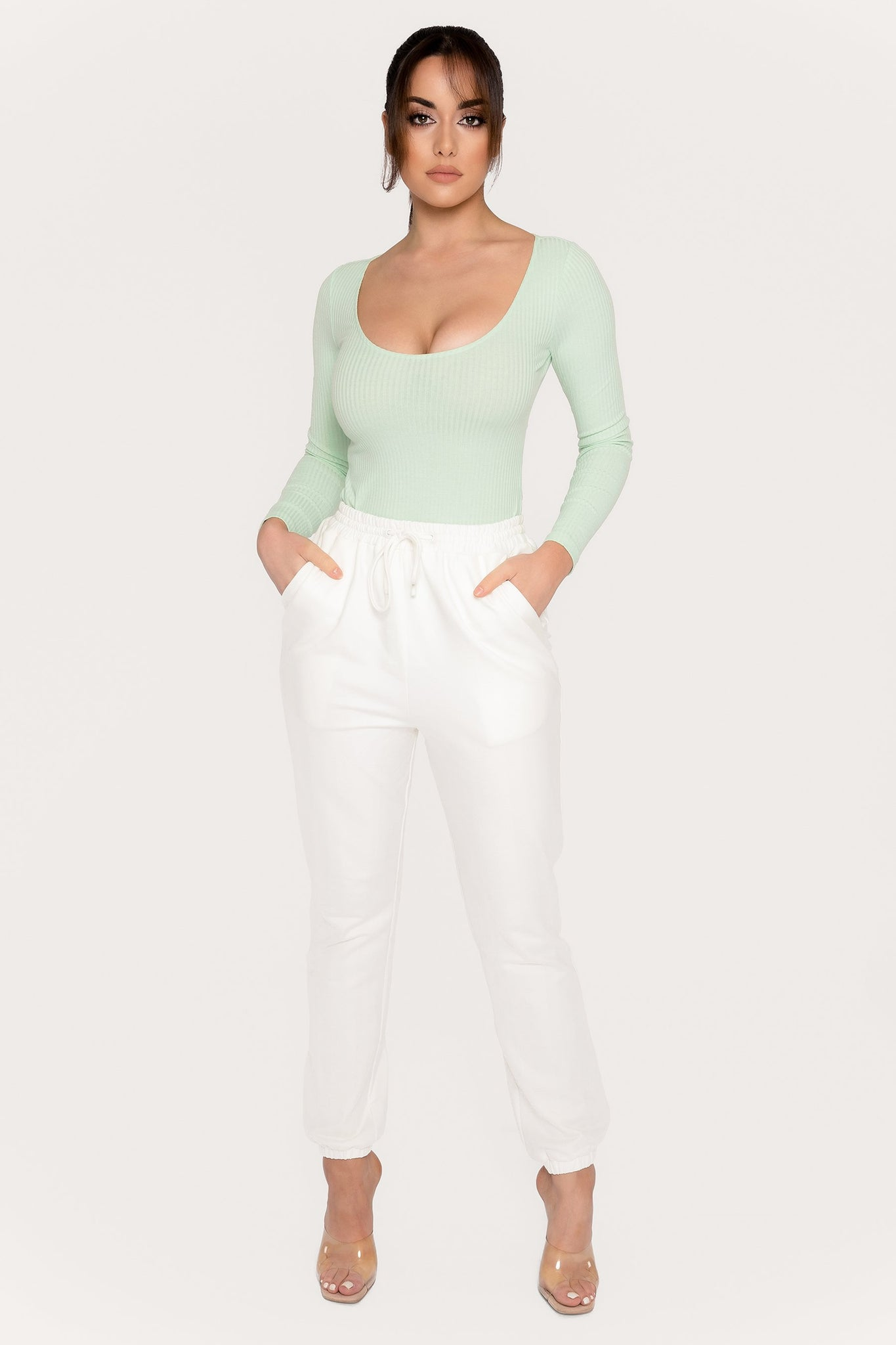 Desirae Long Sleeve Scoop Bodysuit - Mint - MESHKI