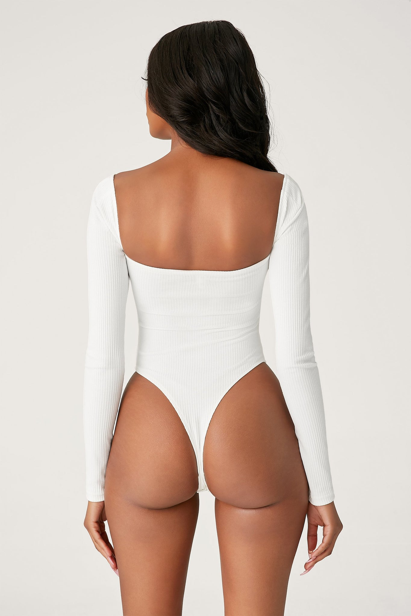 Fernley Ribbed Long Sleeve Bodysuit - White - MESHKI