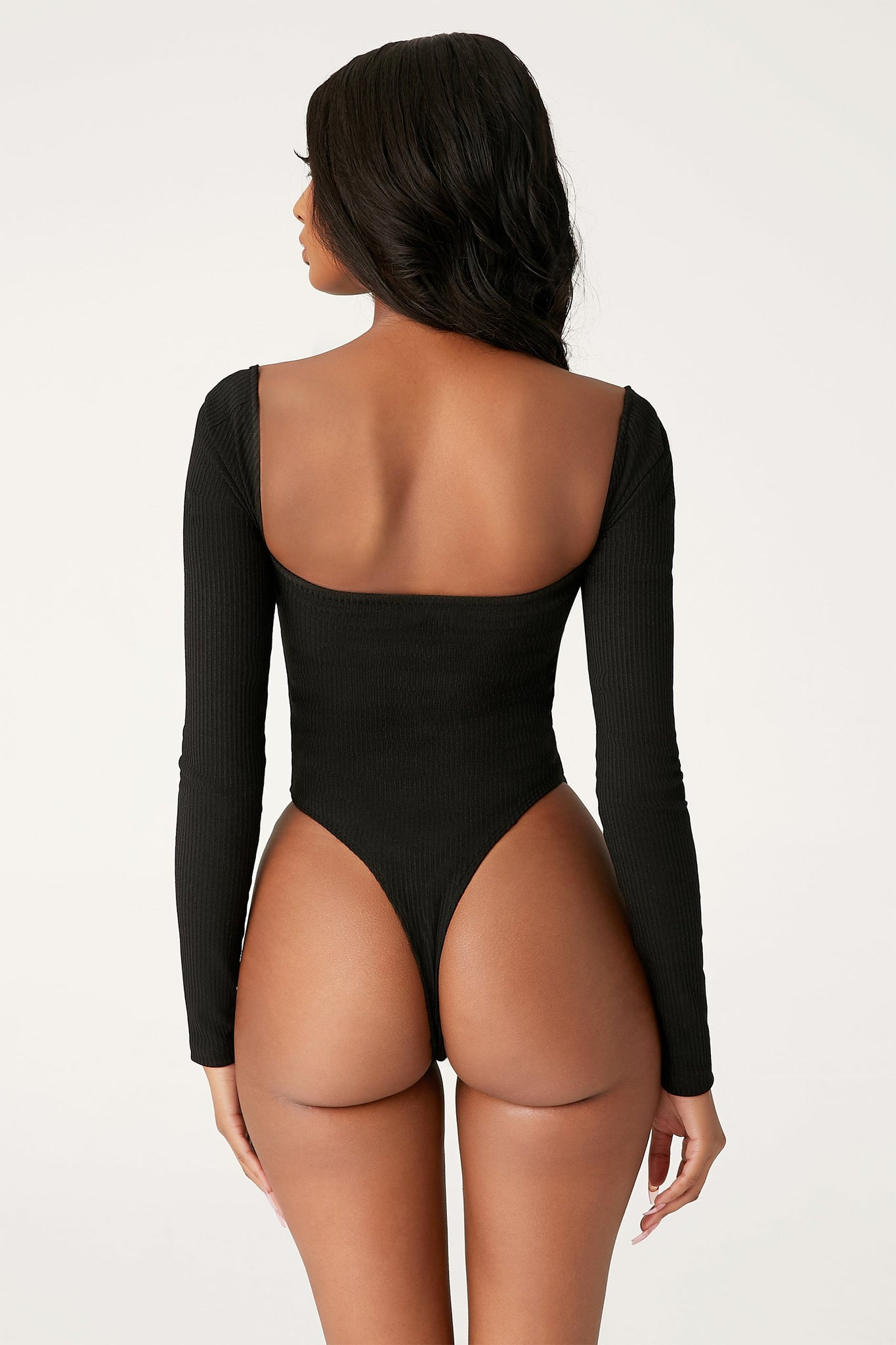 Fernley Ribbed Long Sleeve Bodysuit - Black - MESHKI