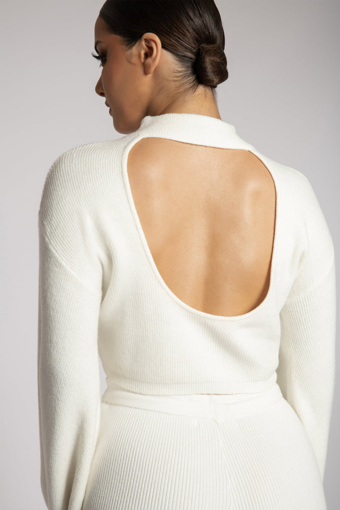Adley High Neck Backless Knitted Top - White - MESHKI