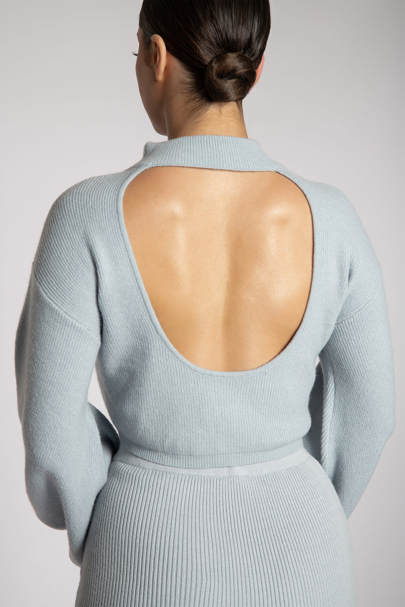 Adley High Neck Backless Knitted Top - Baby Blue - MESHKI