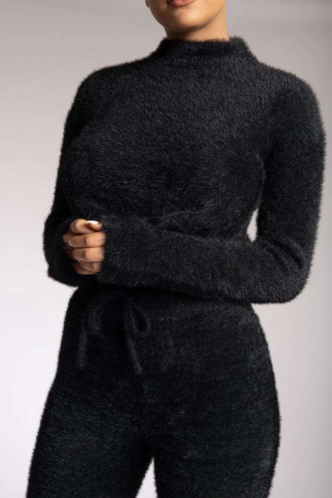 Lorna High Neck Fluffy Cut Out Back Diamante Jumper - Black - MESHKI