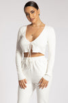 Bobbie Ribbed Tie Front Crop Top - Cream
