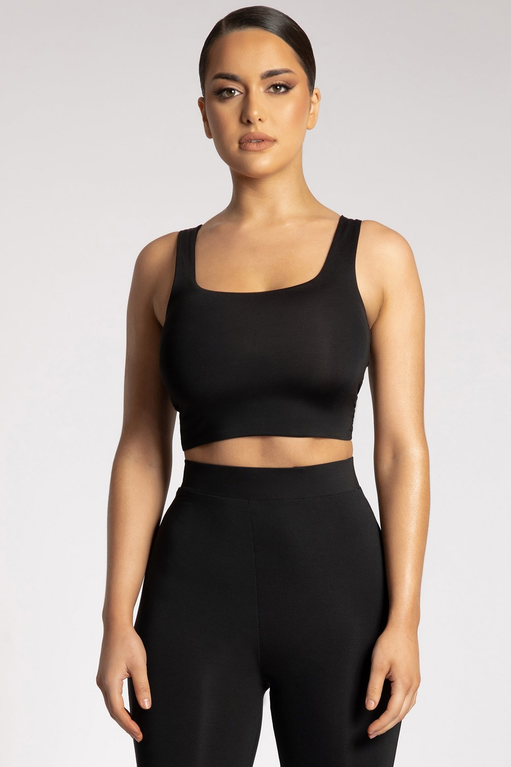 Mitsy Square Neck Crop Top - Black - MESHKI