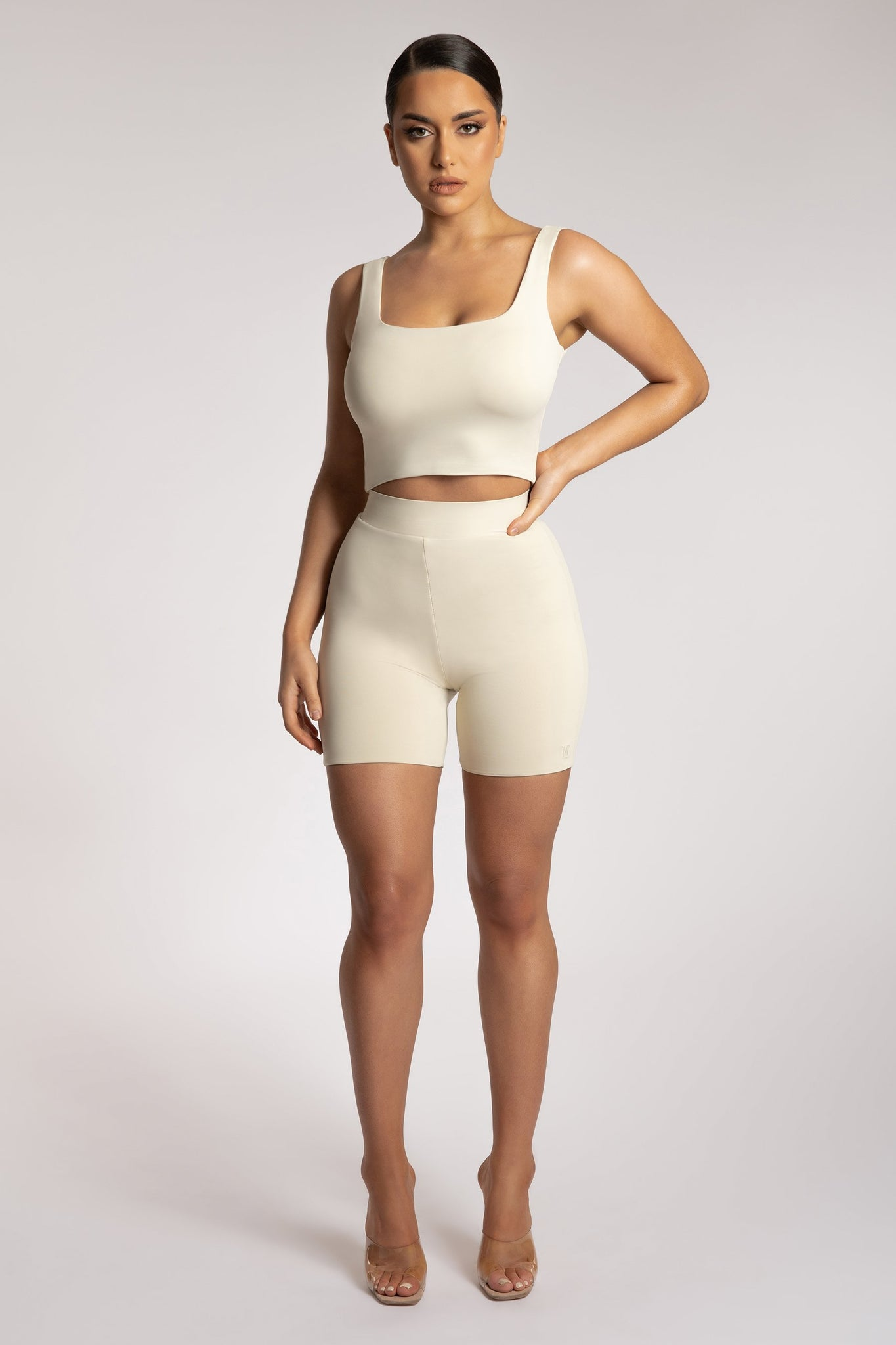 Mitsy Square Neck Crop Top - Sand - MESHKI