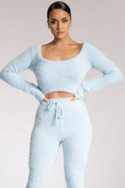 Stella Fluffy Round Neck Long Sleeve Crop Top - Baby Blue - MESHKI