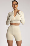 Ashlea Long Sleeve Zip Up Crop Top - White
