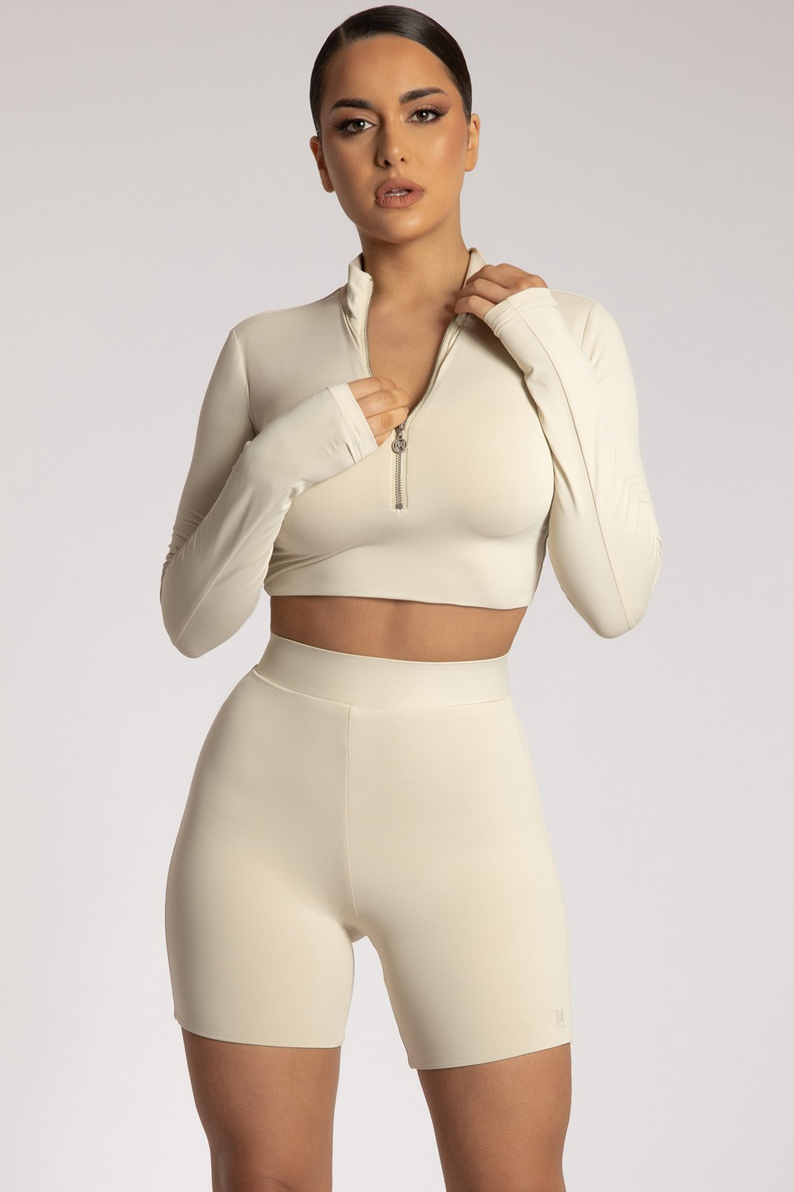 Ashlea Long Sleeve Zip Up Crop Top - Sand - MESHKI