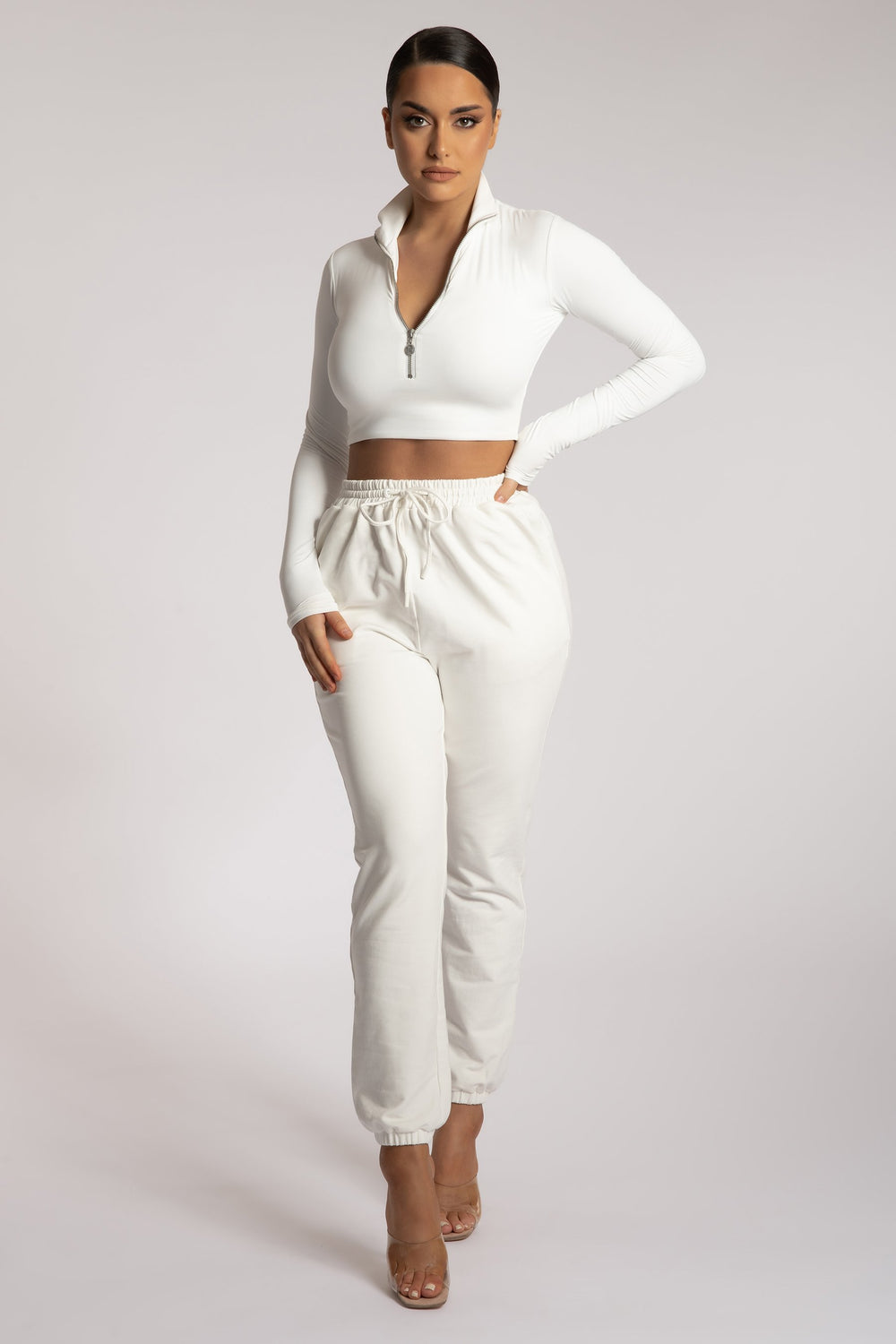Ashlea Long Sleeve Zip Up Crop Top - White - MESHKI
