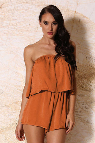 Melaina Strapless Playsuit - Rust