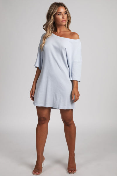 ... Kenisha Ribbed T - Shirt Dress - Baby Blue - MESHKI 99bd42302