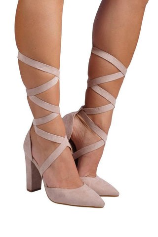 Ellery Wrap Strappy Pointed Heel - Blush Suede