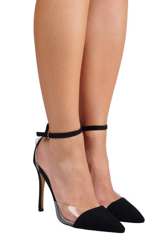 Tresor Clear/Suede Pointed Heel - Black Suede